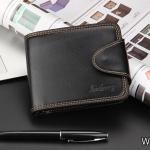 WS06-Black กระเป๋าสตางค์ใบสั้น แนวนอน กระเป๋าสตางค์ผู้ชาย หนัง PU เกรดเอ สีดำ