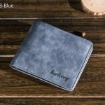 WS08-Blue กระเป๋าสตางค์ใบสั้น แนวนอน กระเป๋าสตางค์ผู้ชาย หนัง PU เกรดเอ สีน้ำเงิน