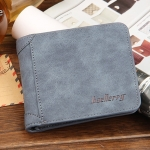WS09-Blue กระเป๋าสตางค์ใบสั้น แนวนอน กระเป๋าสตางค์ผู้ชาย หนัง PU เกรดเอ สีน้ำเงิน