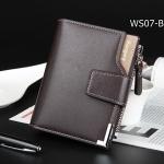 WS07-Brown กระเป๋าสตางค์ใบสั้น แนวตั้ง กระเป๋าสตางค์ผู้ชาย หนัง PU เกรดเอ สีน้ำตาล