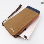 WL02-Brown กระเป๋าสตางค์ใบยาว กระเป๋าสตางค์ผู้ชาย ผ้าแคนวาส สีน้ำตาล
