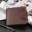 WS06-Brown กระเป๋าสตางค์ใบสั้น แนวนอน กระเป๋าสตางค์ผู้ชาย หนัง PU เกรดเอ สีน้ำตาล thumbnail 1