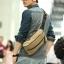 CV02-Khaki กระเป๋าสะพายไหล่ กระเป๋าคาดอก ผ้าแคนวาส สีกากี thumbnail 4
