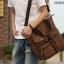 CV18-Brown กระเป๋าถือผู้ชาย + สะพายข้าง ผ้าแคนวาส สีน้ำตาล thumbnail 3
