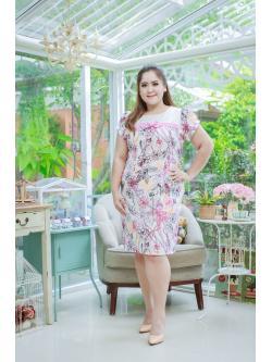 5 Size= XL,2XL,3XL,4XL,5XL ชุดเดรสสาวอวบ++ ชุดเดรสผ้าบุชเชอร์ ทอลายดอก คาดอกติดโบว์ สีชมพู ผ้าเนื้อดีมากหนา