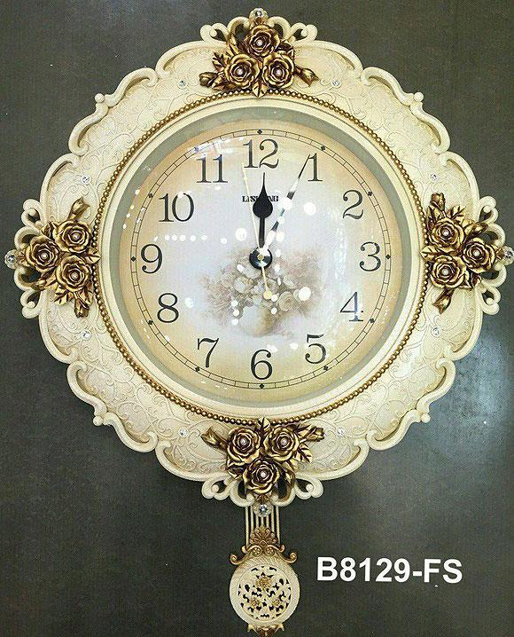 นาฬิกาแขวนติดผนังสีขาว ดอกกุหลาบทองแต่งลวดลายสวยๆไม่เหมือนใคร