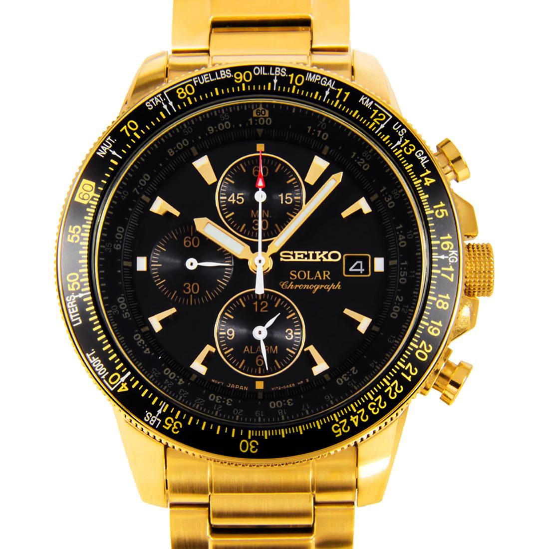นาฬิกา Seiko Men Chronograph Solar System Gold Premier seiko ssc008P สาย Stainless ทอง