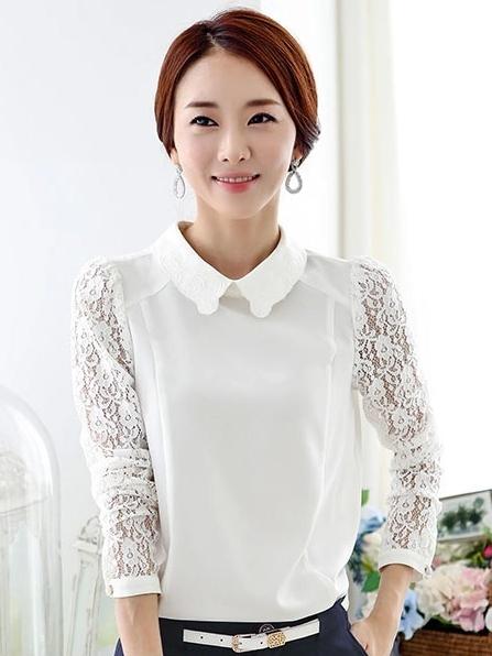 เสื้อทำงานแขนยาว ผ้าชีฟอง แขนเย็บผ้าลูกไม้ คอบัว สีขาว