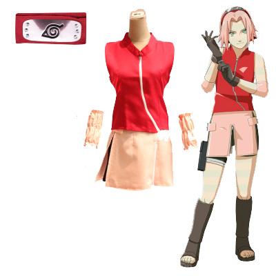 ชุดคอสเพลย์หญิงแฟชั่น NARUTO Haruno Sakura แนวเครื่องแบบนินจา