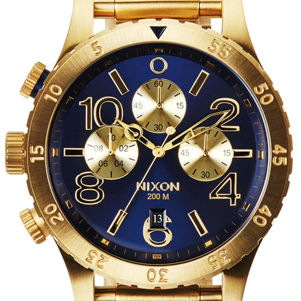 นาฬิกา NIXON Men Chronograph Chronograph Blue Gold Dails Watch A4861922 48-20