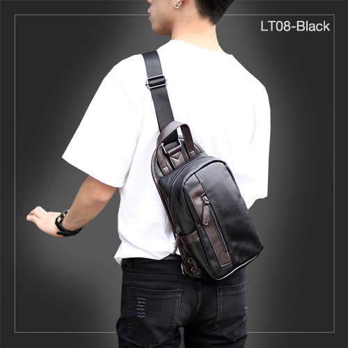LT08-Black กระเป๋าสะพายไหล่ กระเป๋าคาดอก หนัง PU สีดำ
