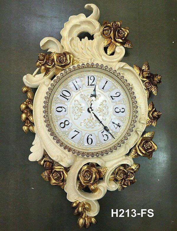 นาฬิกาแขวนติดผนัง ดีไซน์สวย สไตล์โรมันประดับดอกกุหลาบสีทอง