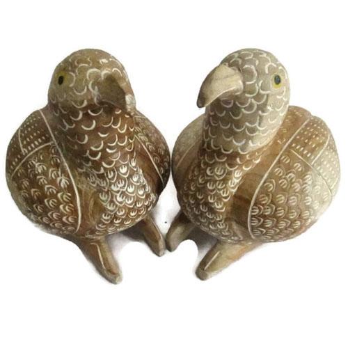 ชุด นกคุ้ม 2 ตัว (ตัวผู้ กับ ตัวเมีย) แกะสลักจากไม้สัก ขนาดใหญ่