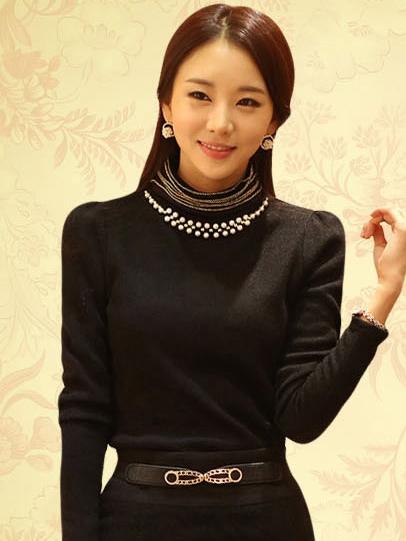 เสื้อทำงาน ผ้าฝ้ายแขนยาว ผ้านิ่มใส่สบาย สีดำ