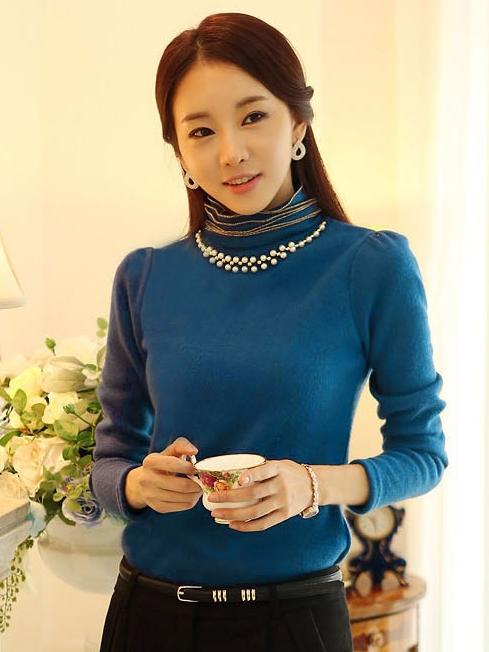 เสื้อทำงาน ผ้าฝ้ายแขนยาว ผ้านิ่มใส่สบาย สีฟ้า