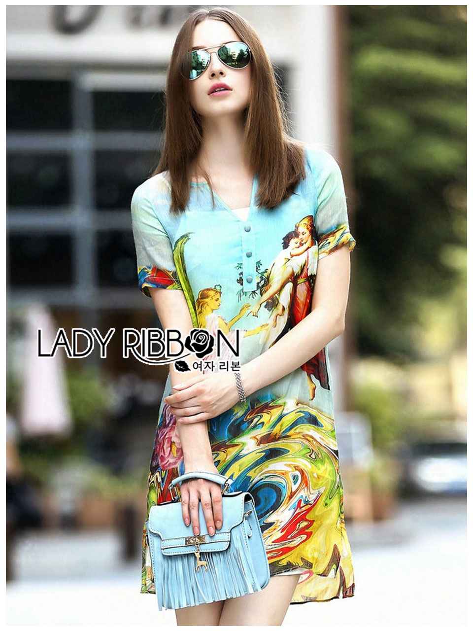 Lady Jennifer Casual Vivid Color Mix Printed Chiffon Dress สีฟ้า