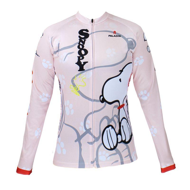 **พรีออเดอร์** เสื้อแขนยาวปั่นจักรยาน เสื้อจักรยานผู้หญิง ลายสนูปปี้ สีออกชมพูขาว ใส่ปั่นจักรยานไม่ซ้ำใคร