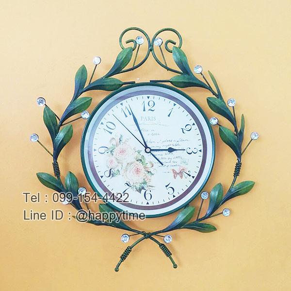 นาฬิกาติดผนัง Vintage รุ่นใบไม้เขียว