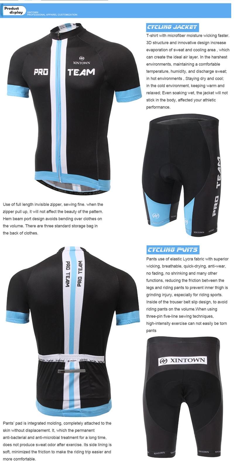 **สินค้าพรีออเดอร์**ชุดจักรยาน (เสื้อแขนสั้น + กางเกงปั่นจักรยาน) สีดำ แถบฟ้าสวย