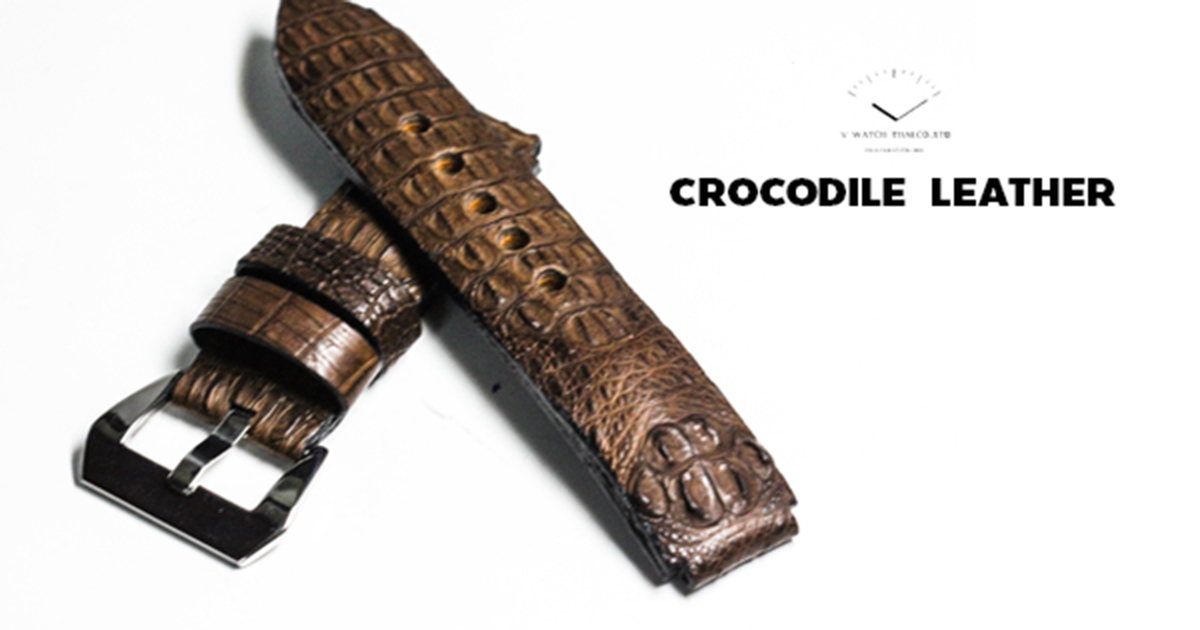 Brown Genuine Leather Horn Black Crocodile Leather Watch Strap Pam Buckle 24/20 mm