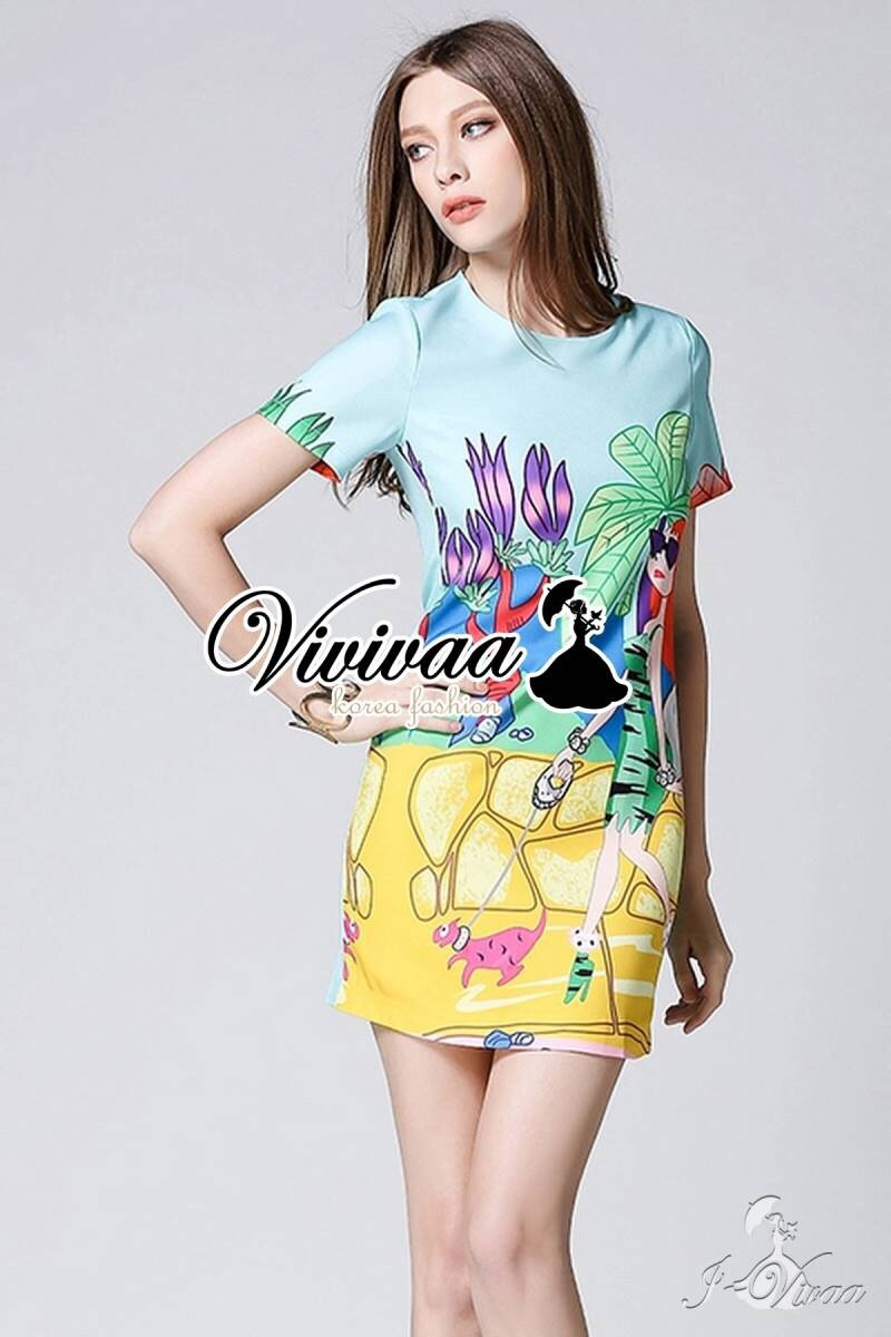 "Vivivaa recommend ""Mint blue pastel printed dress"""