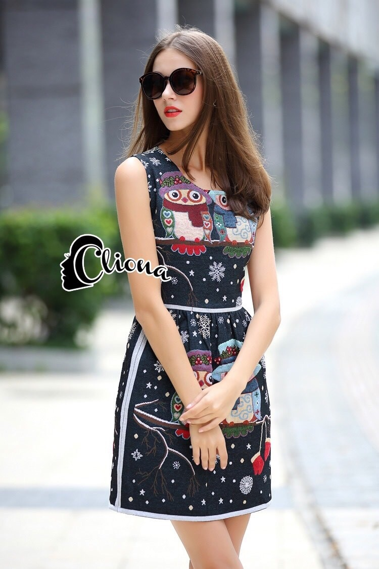 Cliona made' Owl Embroidered Sexy Dress