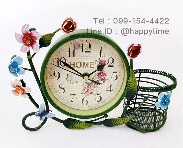 นาฬิกาตั้งโต๊ะแนววินเทจ ตะกร้าเขียว