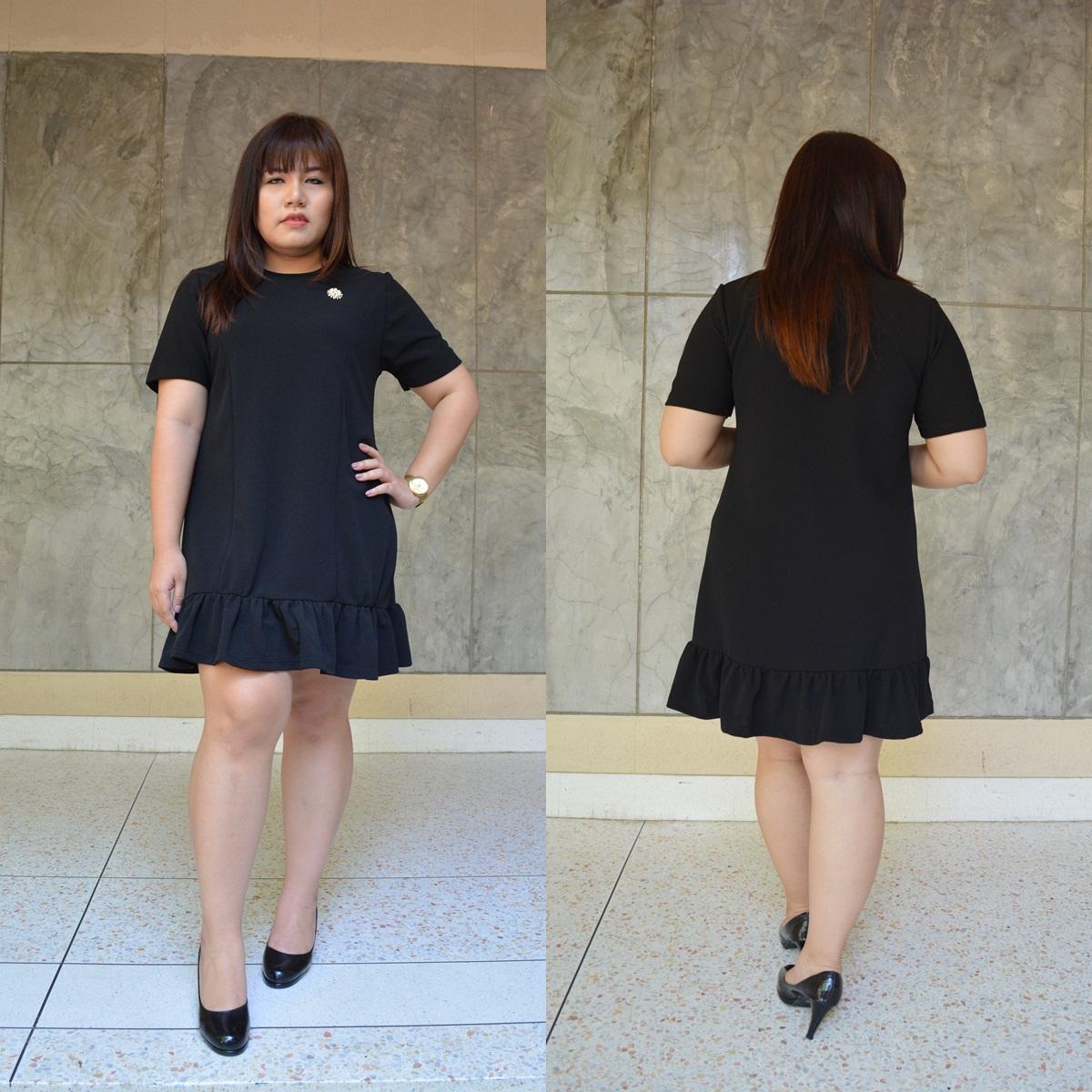 ชุดดำพร้อมส่ง สำหรับสาวอวบ++ F 36-43 นิ้ว T5108