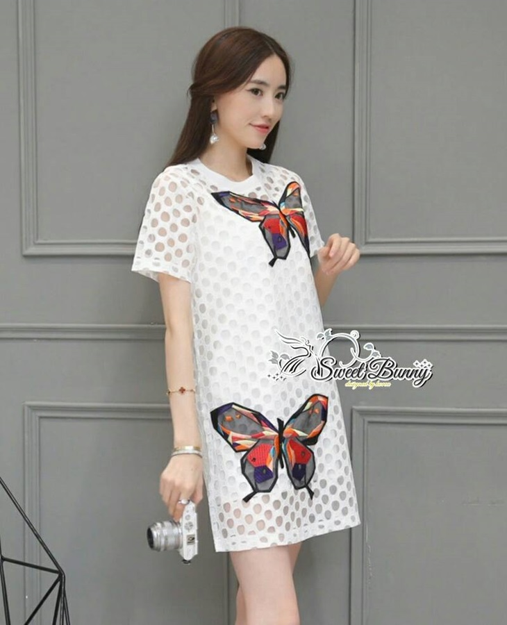 Sweet Bunny Present... Embroidered Butterfly Dress สีขาว