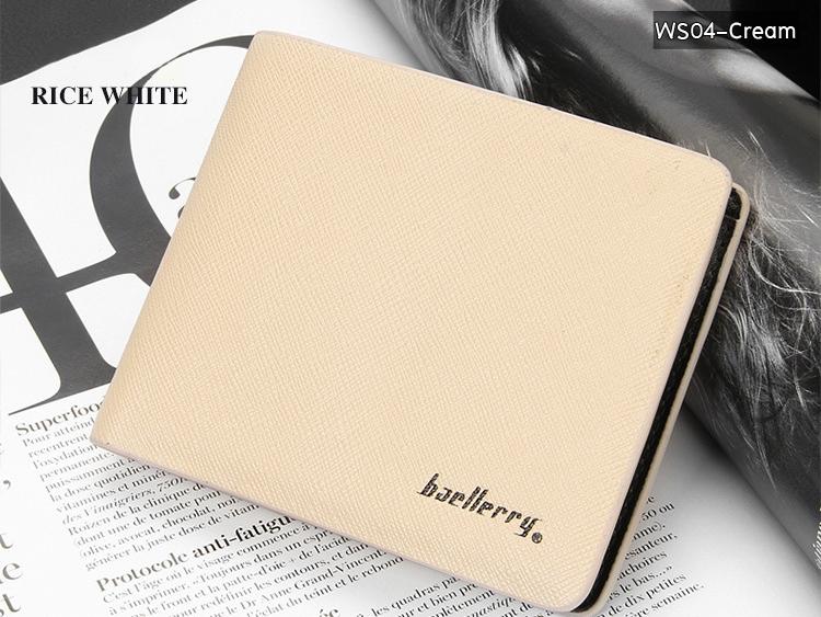 WS04-Cream กระเป๋าสตางค์ใบสั้น แนวนอน กระเป๋าสตางค์ผู้ชาย หนัง PU เกรดเอ สีครีม