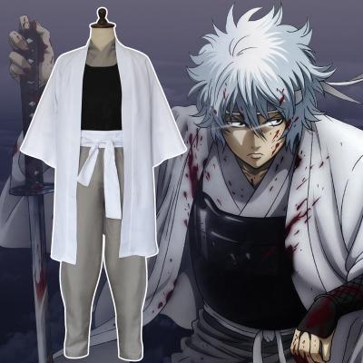 ชุดคอสเพลย์ชายแฟชั่น Gintoki Sakata Gintama แนวเครื่องแบบซามูไร