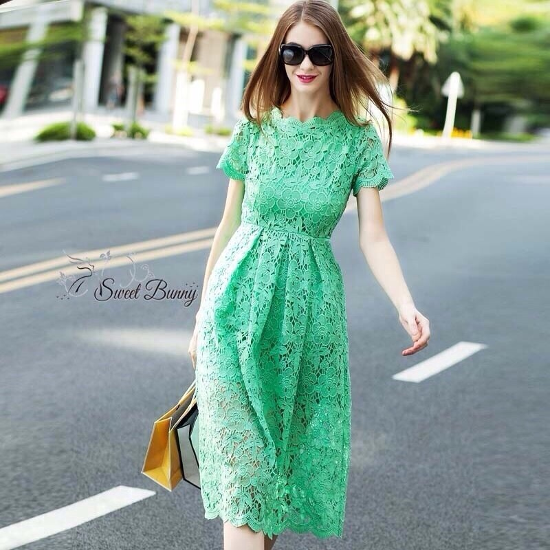 Lace shift lime long dress by Sweet Bunny