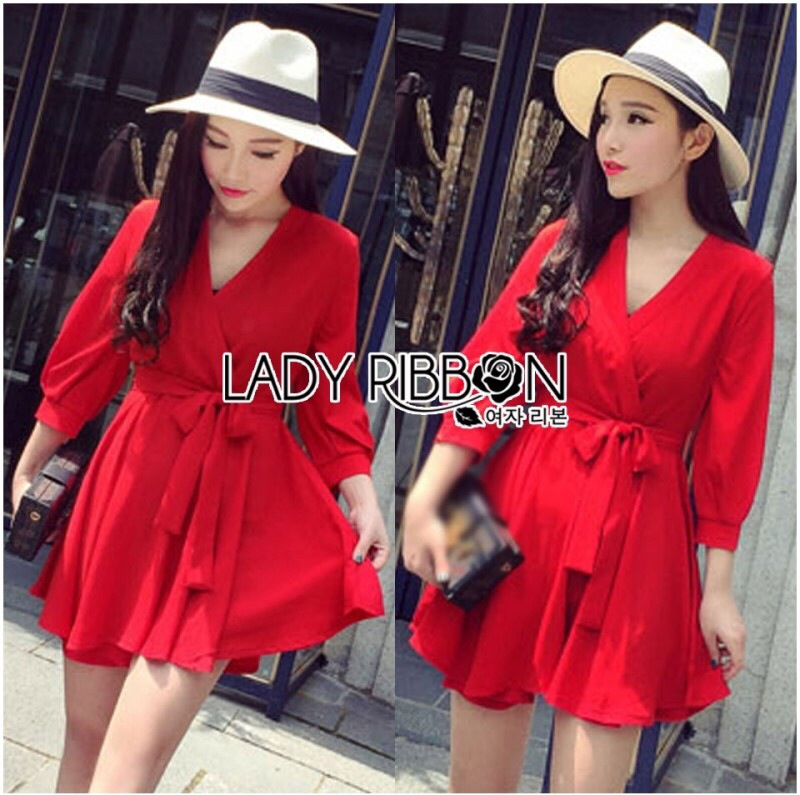 Lady Ribbon's Made Lady Stella Sexy Vivid Color Wrap Dress with Ribbon สีแดง