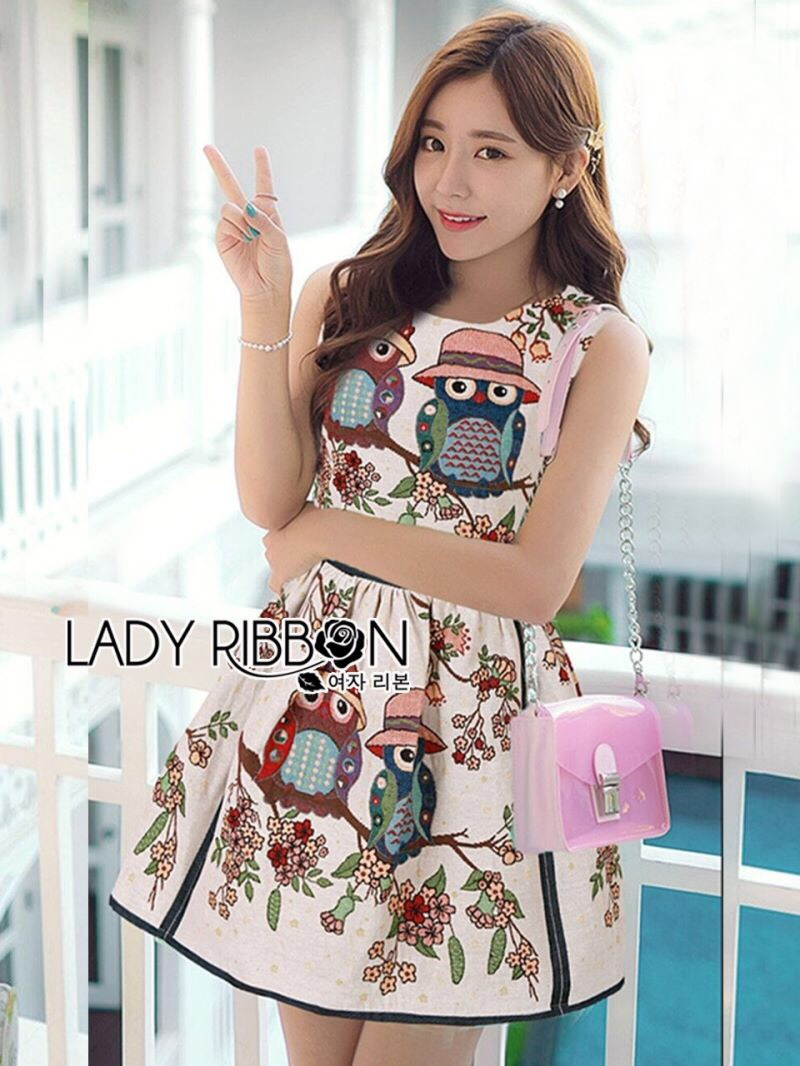 Lady Ribbon's Made Lady Jessica Super Cute and Sweet Owl Embroidered Dress สีครีม