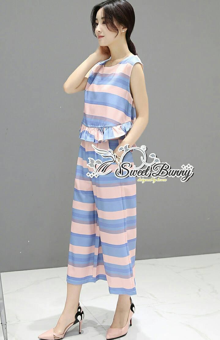 Sweet Bunny Present... Stripe Cross Wide Pants Set