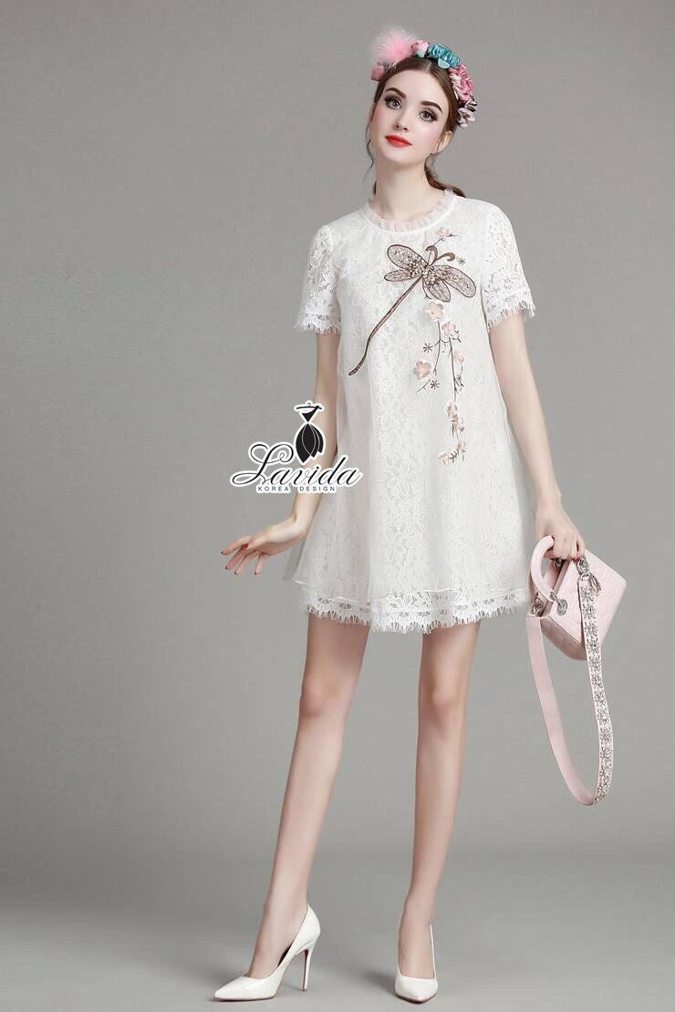 Korea Design By Lavida elegant dragonfly embroidered white premium dress