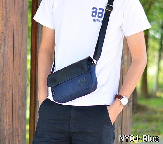NY04-Blue กระเป๋าสะพายข้าง ผ้าไนลอนผสมหนัง สีน้ำเงิน Three box