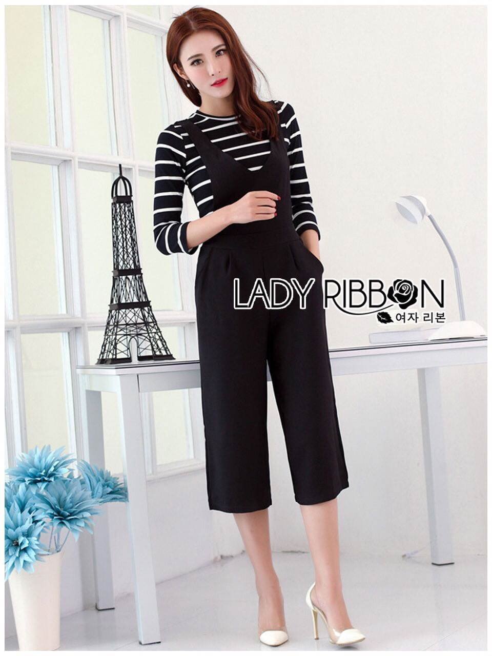 Lady Ribbon's Made Lady Chiara Minimal Chic Striped Top with Overall Jumpsuit Set
