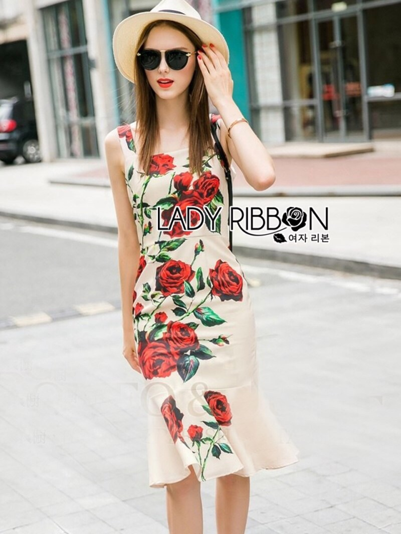 Lady Ribbon's Made Lady Monique Sophisticated Red Roses Printed Peplum Dress