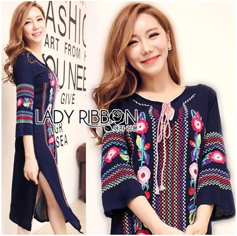 Lady Ribbon's Made Lady Lea Boho Colourful Flower Embroidered Midi Dress สีกรม