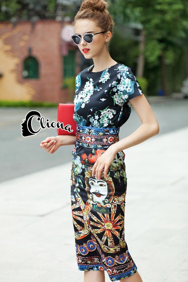 Cliona made' DG Marco Polo Adventure Luxury Printing Dress