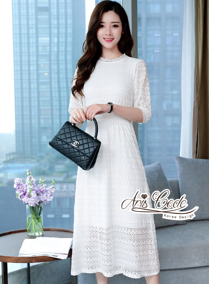 Aris Code White Lace Dress Maxi Sweet