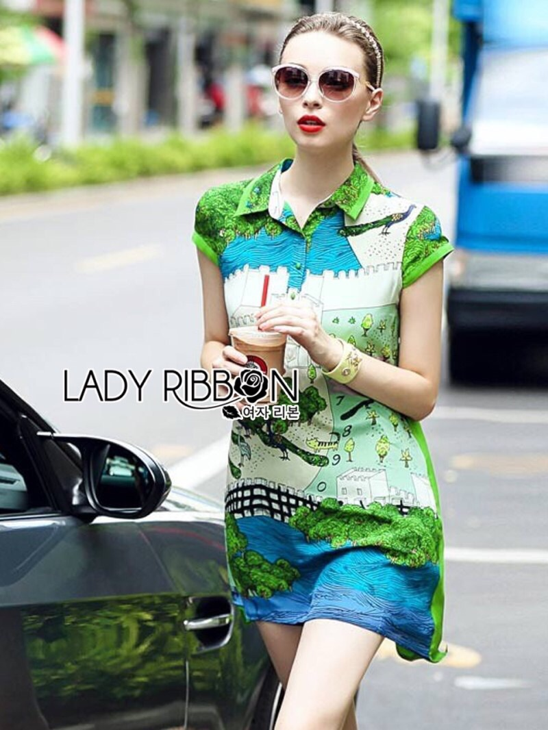 Lady Ribbon's Made Lady Sylvia Relaxed and Playful Cartoon Printed Shirt Dress