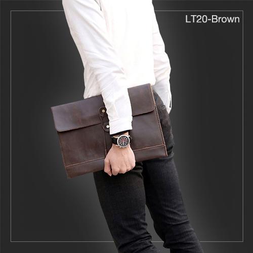 LT20-Brown กระเป๋าถือ กระเป๋าคลัช ผู้ชาย A4 หนัง Crazy Horse PU สีน้ำตาล