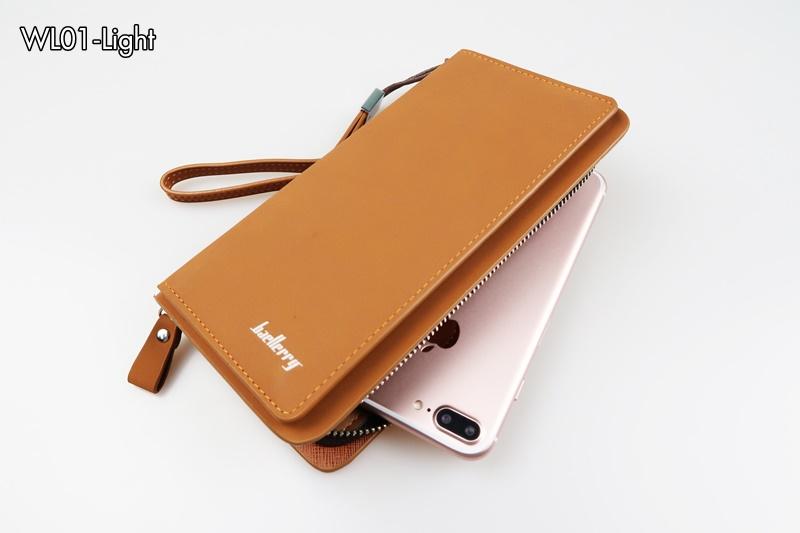 WL01-Light กระเป๋าสตางค์ใบยาว กระเป๋าสตางค์ผู้ชาย หนัง PU สีน้ำตาลอ่อน