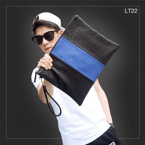 LT22 กระเป๋าถือ กระเป๋าคลัช ผู้ชาย A4 หนัง PU สีดำ