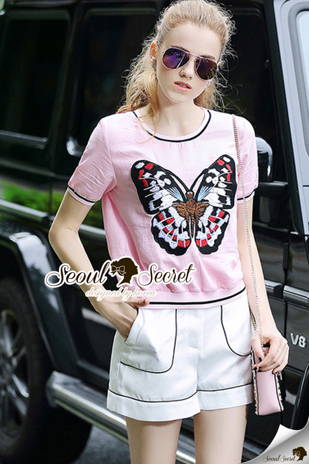 Seoul Secret Say's .... Sweety Chill Pink Knit Butterfly Set