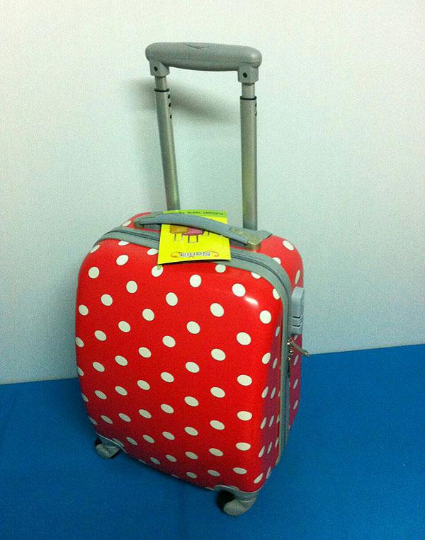 กระเป๋าเดินทาง PC 16 นิ้ว สีแดง Polka Dot 4 ล้อ น้ำหนักเบา
