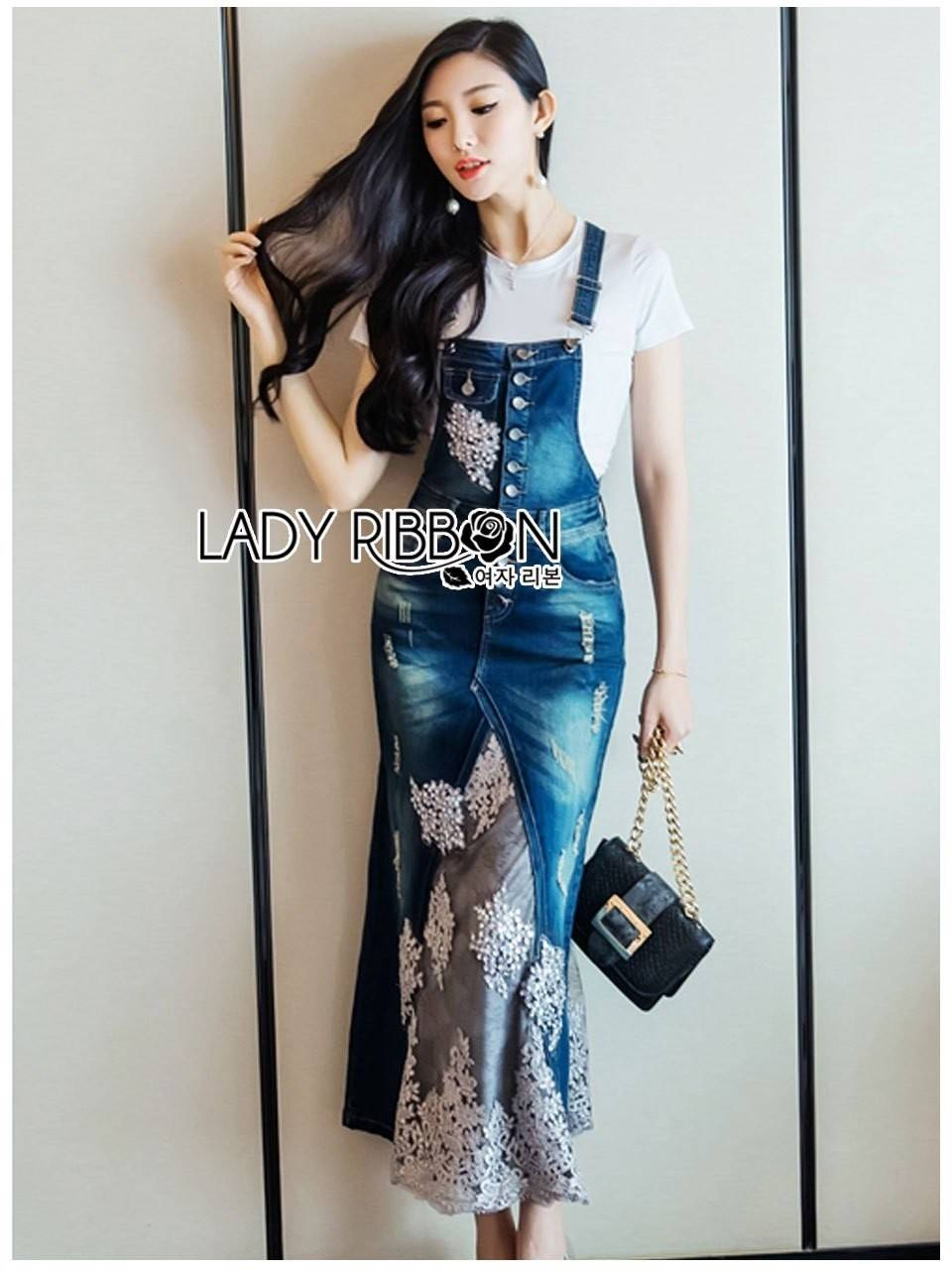 Lady Ribbon's Made Lady Tanya White T-Shirt and Sequin Embroidered Denim and Lace Overall Dress Set