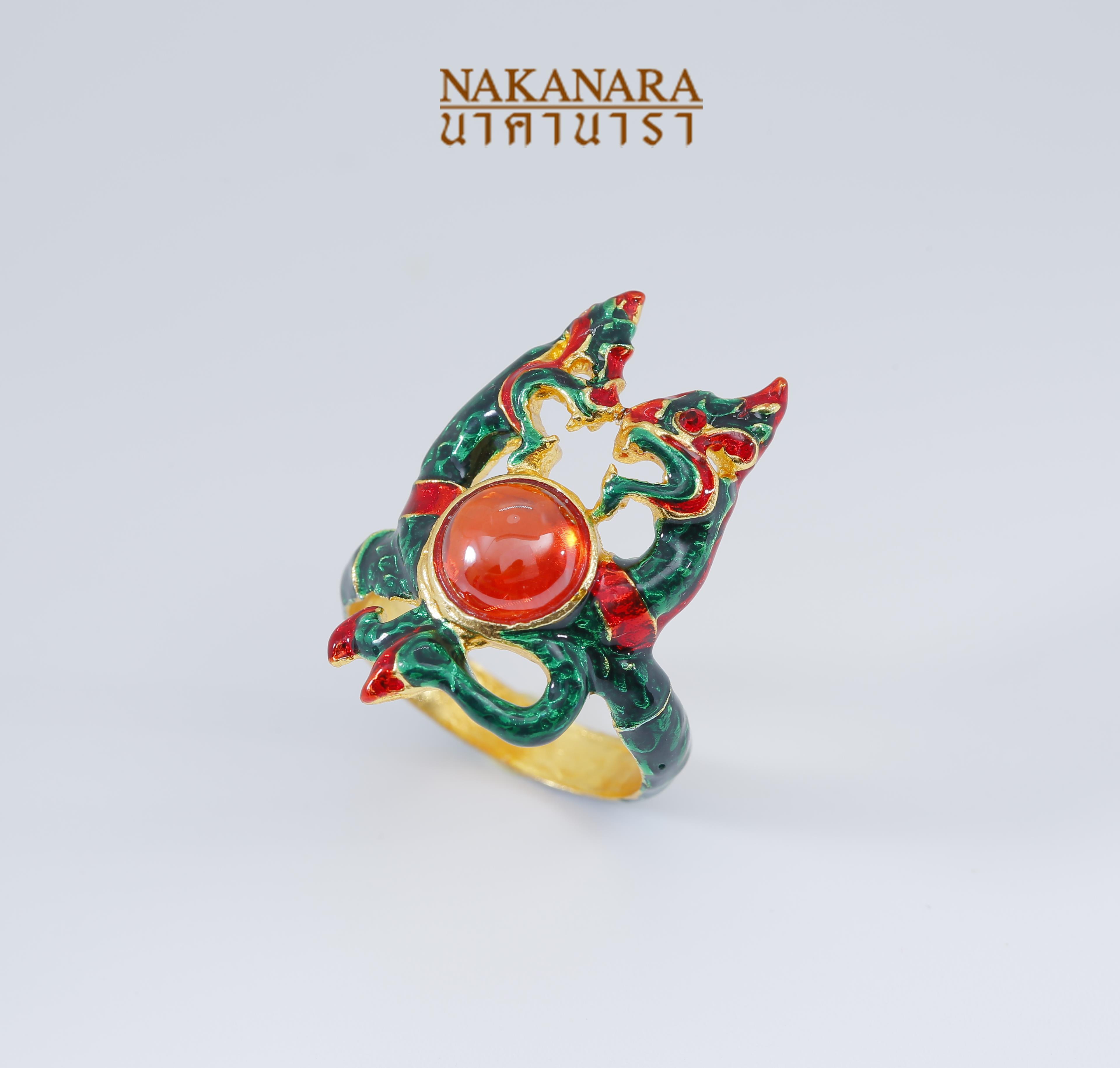 แหวนพญานาคราชหน้าเกี้ยว ประดับพลอย